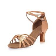 billige Moderne sko-Dame Latin Dansesko Moderne Swingsko Samba Salsa Silke Høye hæler Profesjonell Trening Sløyfe Tykk hæl Naken 3 - 3 3/4inch Kan