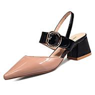 Žene Cipele Lakirana koža Ljeto Udobne cipele Cipele na petu Niska potpetica Okrugli Toe za Crn Bež Pink