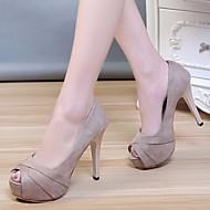 baratos Sapatos Femininos-Mulheres Sapatos Pele Nobuck Primavera / Outono Conforto / Plataforma Básica Saltos Salto Agulha Preto / Khaki