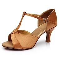 baratos Sapatilhas de Dança-Mulheres Sapatos de Dança Latina Cetim / Courino Sandália / Salto Recortes Salto Personalizado Personalizável Sapatos de Dança Marron