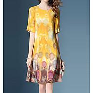 女性用 モダンシティ ストリートファッション Aライン ドレス - プリント, フラワー 膝丈