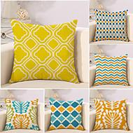 tanie Rzuć poduszkami-6 szt Bawełna / pościel Pokrywa Pillow / Poduszka-Nowość / Poszewka na poduszkę, Kratka / Geometryczny / Wielokolorowa Geometrické / קלאסי