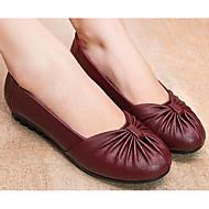 女性用 靴 PUレザー 春 / 秋 コンフォートシューズ フラット ローヒール ブラック / Brown / バーガンディー