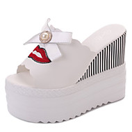cheap Women's Slippers & Flip-Flops-Women's Shoes PU Summer Comfort Slippers & Flip-Flops Creepers Round Toe Bowknot for Casual White Black