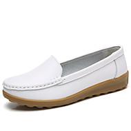 baratos Sapatilhas Femininas-Mulheres Sapatos Pele Tule Verão Outono Conforto Rasos Sem Salto para Festas & Noite Branco Preto Vermelho