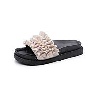Žene Cipele Tkanina Ljeto Udobne cipele Sandale Hodanje Niska potpetica Okrugli Toe Karirani uzorak za Kauzalni Obala Crn Zelen Pink