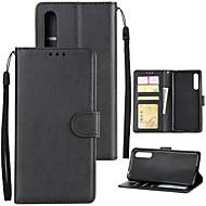 billiga Mobil cases & Skärmskydd-fodral Till Huawei P20 lite P20 Pro Korthållare Plånbok Stötsäker Lucka Fodral Enfärgad Hårt PU läder för Huawei P20 lite Huawei P20 Pro