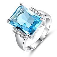 Dame Syntetisk akvamarin Kvadratisk Zirconium Solitaire Band Ring - Vintage, Elegant 6 / 7 / 8 / 9 / 10 Lyseblå Til Bryllup Forlovelse Ceremoni