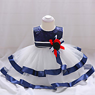 아가 여아 파티 / 데이트 패치 워크 민소매 면 드레스 푸른 / 귀여운