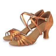 baratos Sapatilhas de Dança-Mulheres Sapatos de Dança Latina Seda Salto Cadarço de Borracha Salto Robusto Personalizável Sapatos de Dança Castanho Escuro / Nú