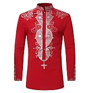 cheap Sale-Men's Shirt - Tribal Print Standing Collar / Long Sleeve