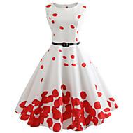 Pentru femei Ieșire Vintage Bumbac Zvelt Swing Rochie - Imprimeu, Floral Lungime Genunchi