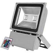baratos Focos-1pç 100W Focos de LED Controlado remotamente Regulável Impermeável Decorativa Iluminação Externa RGB + Branco 85-265V