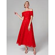A-라인 오프 숄더 종아리 길이 올 오버 레이스 댄스 파티 / 포멀 이브닝 드레스 와 리본 으로 TS Couture®