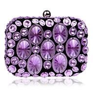 baratos Clutches & Bolsas de Noite-Mulheres Bolsas Poliéster / ABS + PC Bolsa de Festa Detalhes em Cristal Dourado / Roxo / Arco-íris