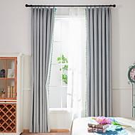 billige Gardiner-gardiner gardiner Stue Ensfarget Bomull / Polyester Pigment Tryk