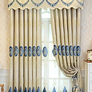 お買い得  窓回り-カーテンドレープ リビングルーム フラワー コットン / ポリエステル 刺繍