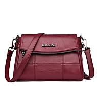 baratos Bolsas de Ombro-Mulheres Bolsas PU Leather Bolsa de Ombro Com Relevo Vermelho / Cinzento / Roxo