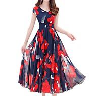 ieftine -Pentru femei Mărime Plus Size Concediu Boho / Sofisticat Zvelt Teacă Rochie - Imprimeu, Floral În V Midi / Vară / Modele florale