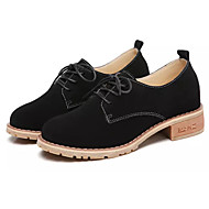 cheap Women's Oxfords-Women's Shoes Suede Nubuck leather Spring Fall Comfort Oxfords Chunky Heel Round Toe for Black Brown