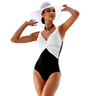 Women's One Piece Swimsuit Breathable Compression Comfortable Tactel Fleece Swimwear Beach Wear Bodysuit Patchwork Swimming / High Elasticity