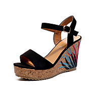 Mujer Zapatos Semicuero / Tejido Verano Confort / Tira en el Tobillo Sandalias Tacón Cuña Puntera abierta Hebilla Beige / Fucsia / Azul uTVScsHB9