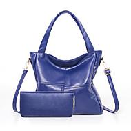 baratos Bolsas Tote-Mulheres Bolsas PU Tote 2 Pcs Purse Set Ziper Preto / Azul Escuro / Roxo
