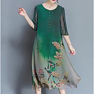 Χαμηλού Κόστους -Γυναικεία Μεγάλα Μεγέθη Κινεζικό στυλ Φαρδιά / Σιφόν Φόρεμα - Δέντρα / Φύλλα, Στάμπα Μίντι / Καλοκαίρι / Floral Patterns
