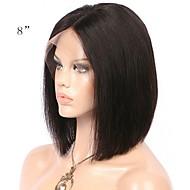 Ubehandlet / Menneskehår Blonde Front Paryk Brasiliansk hår Lige Paryk Bob frisure / Kort bob / Mellemdel 130% Med Baby Hair / Natural Hairline / Til sorte kvinder Naturlig Dame Mellemlængde / 8-14