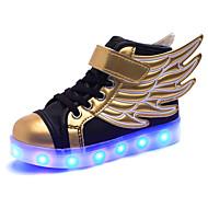 baratos Sapatos de Menina-Para Meninas Sapatos Couro Ecológico Inverno Conforto Tênis Cadarço / LED para Preto e Dourado