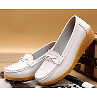 cheap Women's Slip-Ons & Loafers-Women's Shoes PU Spring Fall Comfort Loafers & Slip-Ons Wedge Heel for White Black Wine