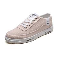 baratos Sapatos Masculinos-Homens Linho / Couro Ecológico Verão / Outono Conforto Tênis Caminhada Branco / Preto / Bege