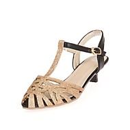 baratos Sandálias Femininas-Mulheres Sapatos Courino Verão MaryJane / D'Orsay Sandálias Salto Sabrina Peep Toe Presilha Dourado / Prata / Festas & Noite