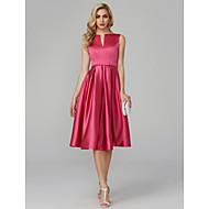 Χαμηλού Κόστους -Γραμμή Α Λαιμόκοψη V Μέχρι το γόνατο Σατέν Κοκτέιλ Πάρτι / Χοροεσπερίδα Φόρεμα με Ζώνη / Κορδέλα με TS Couture®