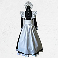 cheap -Maid Costume Outfits Costume Men's Women's Outfits Black with White Vintage Cosplay Polyester 3/4 Length Sleeve