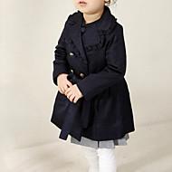 Bébé Para Meninas Moda de Rua Diário Sólido Manga Longa Longo Algodão Casaco Trench Azul Marinho