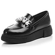 tanie Obuwie damskie-Damskie Obuwie Skórzany Nappa Leather Wiosna Jesień Comfort Mokasyny i pantofle Creepersy na Casual Black