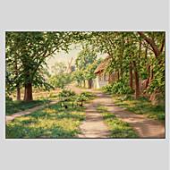 billiga Oljemålningar-Hang målad oljemålning HANDMÅLAD - Landskap Moderna Duk