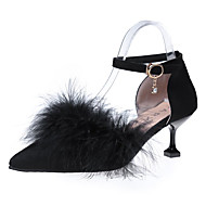 tanie Obuwie damskie-Damskie Obuwie Kaszmir Wiosna Comfort Szpilki Szpilka Pointed Toe Pióra na Casual Black Beige