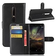 billiga Mobil cases & Skärmskydd-fodral Till Nokia Nokia 7 Plus / Nokia 6 2018 Plånbok / Korthållare / Lucka Fodral Enfärgad Hårt PU läder för Nokia 9 / Nokia 8 / Nokia 7