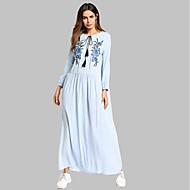 女性用 コットン チュニック ドレス - 刺繍, ソリッド マキシ