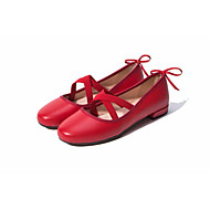 cheap Women's Slip-Ons & Loafers-Women's Shoes Cowhide Spring Summer Mary Jane Loafers & Slip-Ons Low Heel Round Toe for Casual Black Red Nude