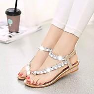 cheap -Women's Shoes PU(Polyurethane) Summer Comfort Sandals Flat Heel Gold / Silver