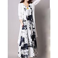 Femme Grandes Tailles Soirée Maxi Mince Tunique Robe - Imprimé, Graphique Col en V Eté Bleu Noir XXXL XXXXL XXXXXL Coton Manches 3/4