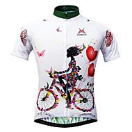 Χαμηλού Κόστους -Mysenlan Γυναικεία Κοντομάνικο Φανέλα ποδηλασίας - Λευκό Άνθινο / Βοτανικό Ποδήλατο Αθλητική μπλούζα, Γρήγορο Στέγνωμα, Υπεριώδης