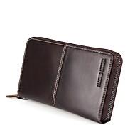 baratos Clutches & Bolsas de Noite-Homens Bolsas couro legítimo Bolsa de Pulso Ziper / Com Relevo Geométrica Café / Marron