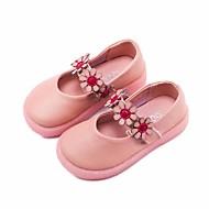 tanie Obuwie dziewczęce-Dla dziewczynek Buty Skórzany Wiosna Comfort Buty płaskie na Casual Beige Różowy