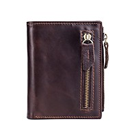 cheap Coin Purse & Holders-Unisex Bags Genuine Leather Coin Purse Zipper Coffee