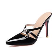 女性用 靴 エナメル 夏 スリングバック スリッパ&フリップ・フロップ スティレットヒール ポインテッドトゥ ラインストーン イエロー / ピンク / アーモンド