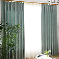 billige Gardiner-gardiner gardiner Stue Ensfarget Bomull / Polyester Garn Bleket